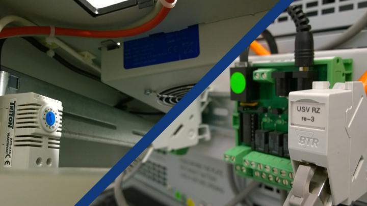 Datenschrank mit Lüftersteuerung und Schnittstelle mit potentialfreien Kontakten.